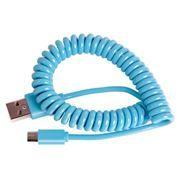 Кабель USB 2.0 Am=>micro B - 1.0 м, витой, голубой, Smartbuy (iK-12sp...