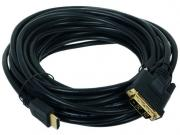 Кабель HDMI-DVI Gembird, 10m, 19M/19M, single link, черный,...