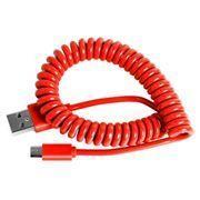 Кабель USB 2.0 Am=>micro B - 1.0 м, витой, красный, Smartbuy (iK-12sp...