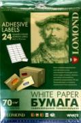 Lomond 2100175 универс.матовая самоклеящаяся деленая бумага 24части...