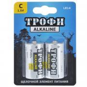 """Батарейка алкалиновая """"Трофи"""", тип C (LR14), 1,5B, 2 шт"""