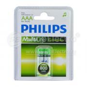 Аккумулятор PHILIPS AAA, 1.2 В, 800 мАч, NiMH BL2