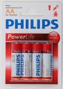 Батарейка PHILIPS POWERLIFE Alkaline, 1.5 В, LR6 BL 4
