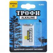 """Батарейка алкалиновая """"Трофи"""", тип крона 6LR61 (1BL), 9B"""