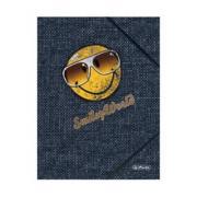 папка Herlitz с резинками smiley jeans