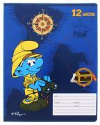 Смурфики Тетрадь Бинокль 12 листов в косую линейку цвет синий желтый