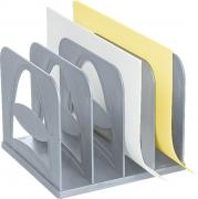 """Лоток для бумаг вертикальный Стамм """"Сортер"""", 4 секции, цвет: серый...."""
