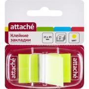 Клейкие закладки Attache пластиковые желтые 25листов 25х45мм...