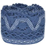 "Тесьма вязаная ""Schaefer"", ажурная, цвет: синий, 5 м х 8 см. 21104413"