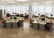Комплект офисной мебели Дэфо Берлин Офис K1 Береза / Серый