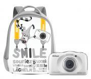 Компактный фотоаппарат Nikon Coolpix W100 + рюкзак Backpack, белый