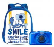 Компактный фотоаппарат Nikon Coolpix W100 + рюкзак Backpack, синий