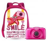 Компактный фотоаппарат Nikon Coolpix W100 + рюкзак Backpack, розовый