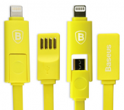 Кабель USB Baseus Dual port series 20cm Apple/Android Yellow