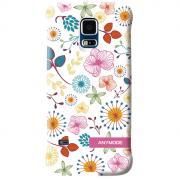 Anymode Цветы задняя панель для Samsung S5 mini, White