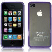 Чехол, задняя прозрачная панель для iPhone 4 / 4S (фиолетовая) BI0309