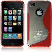 """Чехол, задняя панель для iPhone 4 / 4S """"Волна"""" (красная) BI0311"""