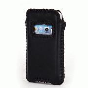 """Кожаный чехол """"Кантри стиль"""" для iPhone 4S, чёрный BI0608"""