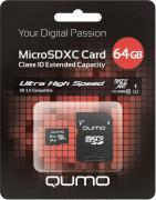 MicroSDXC 64GB QUMO Class 10 с адаптером SD UHS-1 3.0