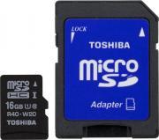 Карта памяти Toshiba microSDHC 16Gb Class 10 + SD adapter