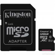 Карта памяти Kingston microSDCX 128GB Class10 UHS-I(SDC10G2/128GB)+ада
