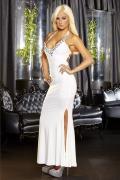 Белое вечернее платье в пол с нарядным декольте Hustler Lingerie Gown5