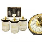 Набор из 3-х банок для сыпучих продуктов Dubai Gold-Silver, Giorinox...