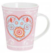 "Кружка Loraine ""Сердце"", цвет: розовый, голубой, 400 мл"
