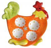 """Тарелка под яйца Home Queen """"Курочка"""", цвет: оранжевый, 4 ячейки"""