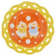 "Тарелка Home Queen ""Цыплята"", цвет: оранжевый, диаметр 17 см"
