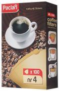 """Набор фильтров для кофе """"Paclan"""", небеленые, размер 4, 100 шт"""