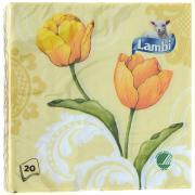 """Салфетки Lambi """"Желтые тюльпаны"""", трехслойные, 33 см х 33 см, 20 шт"""