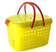 "Корзина-переноска ""Plastic Centre"", большая, цвет: желтый, прозрачный"