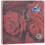 "Салфетки Lambi ""Розы"", трехслойные, 33 х 33 см, 20 шт"