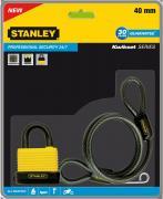 """Кодовый всепогодный замок """"Stanley"""" дужка + стальной кабель, 40 мм...."""