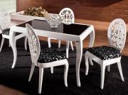 Обеденная группа для столовой и гостиной Лидер ЭЛИС Белый глянец /...