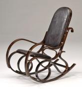 Кресло-качалка RC-8001 Tetchair дерево экокожа орех, черный