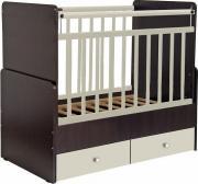 Кроватка-трансформер детская Фея 720 с маятником венге-бежевый