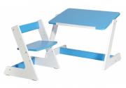 Комлект Пиноккио: стол и стул из дерева для малышей голубой