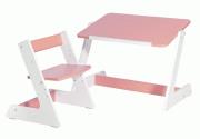 Комлект Пиноккио: стол и стул из дерева для малышей розовый
