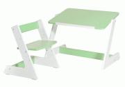 Комлект Пиноккио: стол и стул из дерева для малышей зеленый
