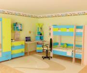 Комплект детской мебели Мебельсон Маугли K3 Дуб млечный / Голубой /...