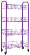 """Этажерка Metaltex """"Pisa"""", 4-уровневая, цвет: фиолетовый, 41 см х 23 см..."""