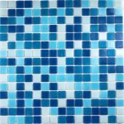 Стеклянная мозаика белого, голубого и синего цветов на сетке 327mm x...