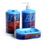 """Набор для ванной комнаты Disney """"Тачки"""", цвет: голубой, 3 предмета"""