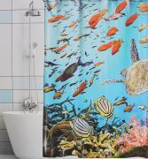 """Штора для ванной Valiant """"Подводный мир"""", цвет: голубой, синий, 180 х..."""