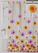 """Штора для ванной Valiant """"Герберы"""", цвет: белый, желтый, розовый, 180..."""