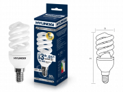 Лампа люминесцентная HYUNDAI fs/2/10-13w-842-e14 t2
