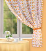 """Штора для кухни Home Queen """"Cooking Time"""", на петлях, цвет: оранжевый,..."""
