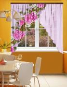 Фототюль угловая для кухни Новый стиль Китайские розы